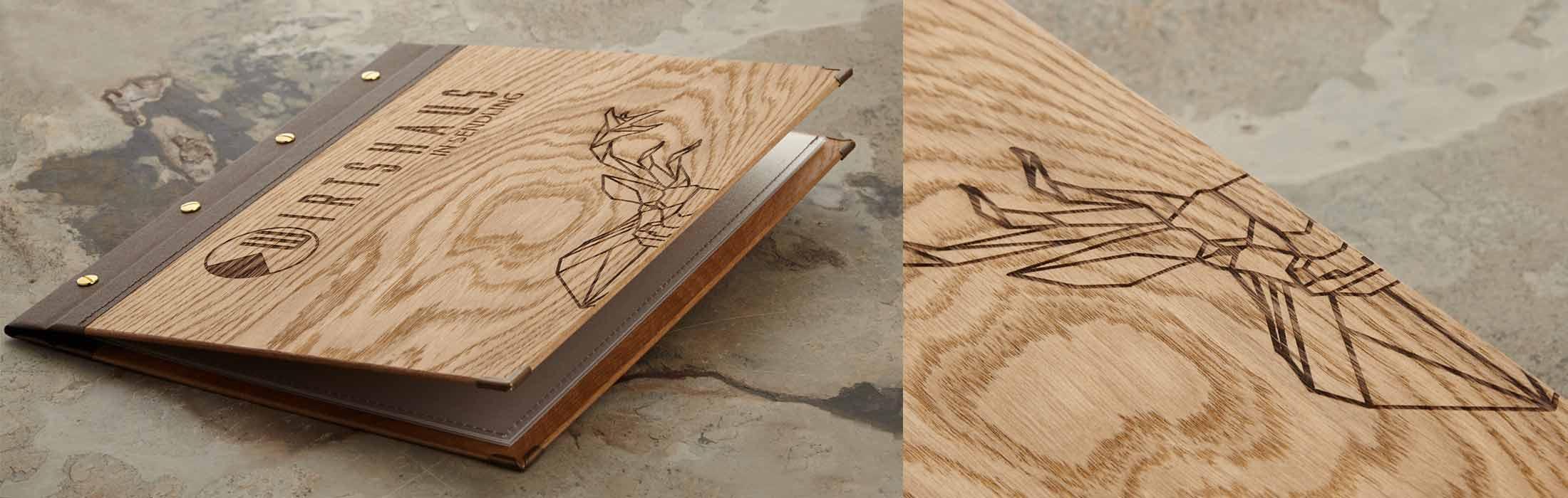 Gastrotopcard Speisekarte Modell Select aus Holz mit Branding
