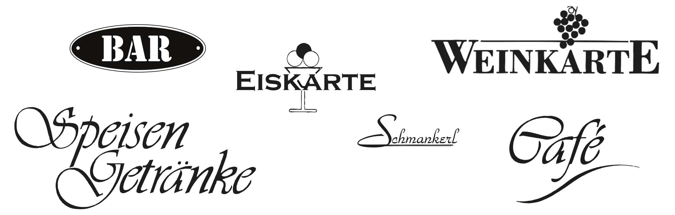 Standardklischees Gastrotopcard Logo Veredelung Speisekarten