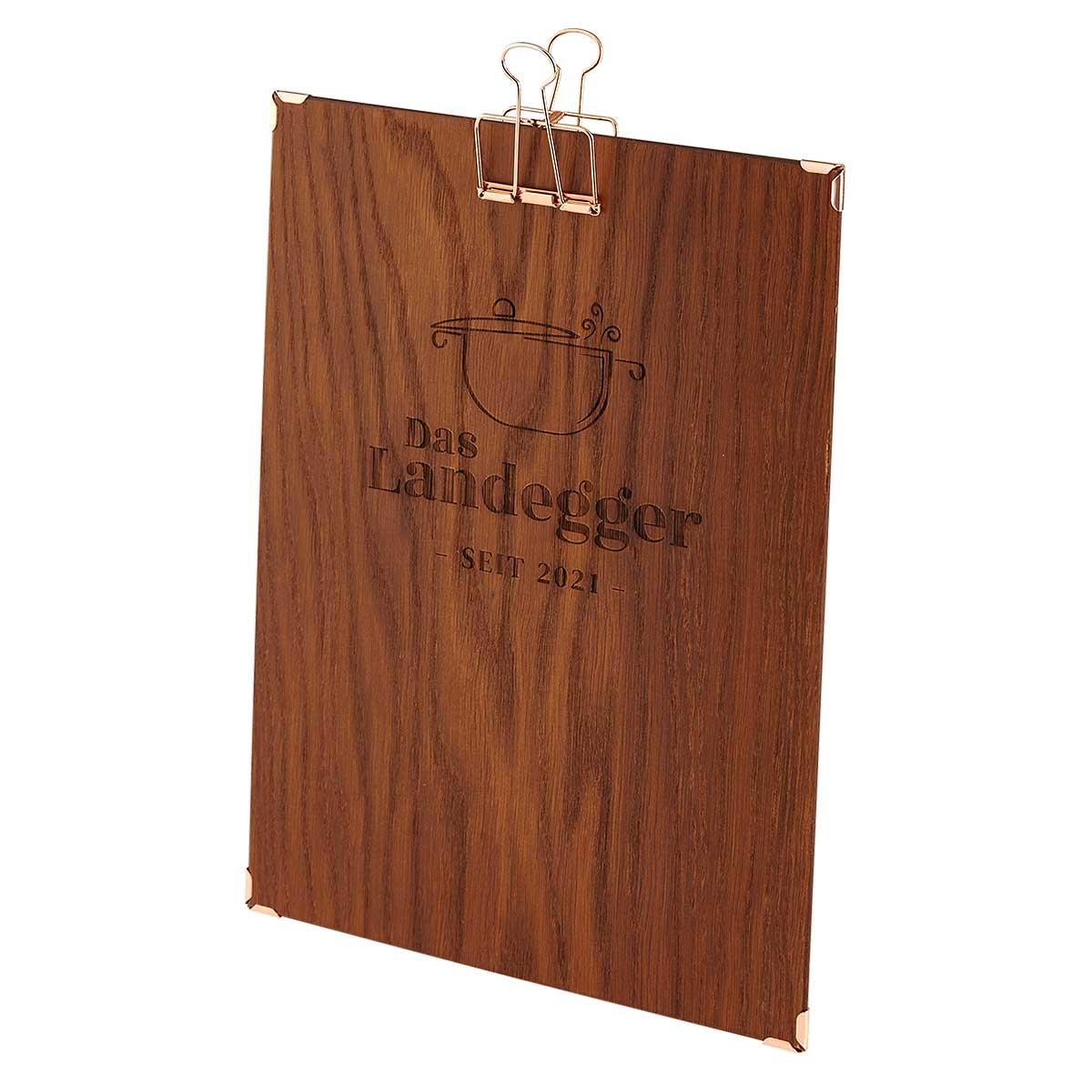 Gastrotopcard Menuboard aus Holz mit Klemme