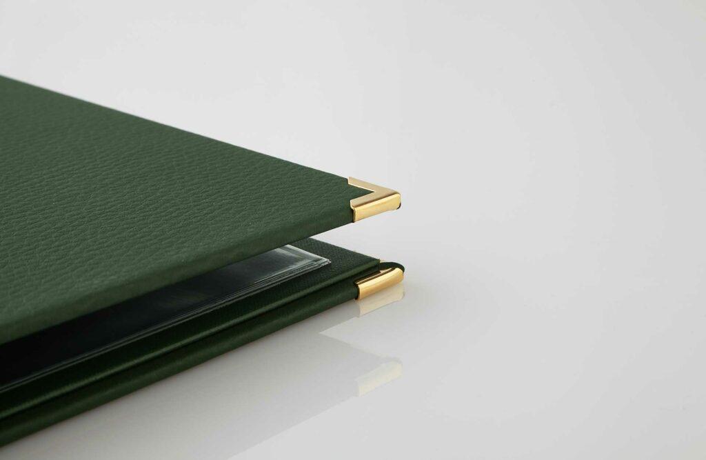 Gastrotopcard Speisekarte Finesso Schraubleiste Designleder in grün