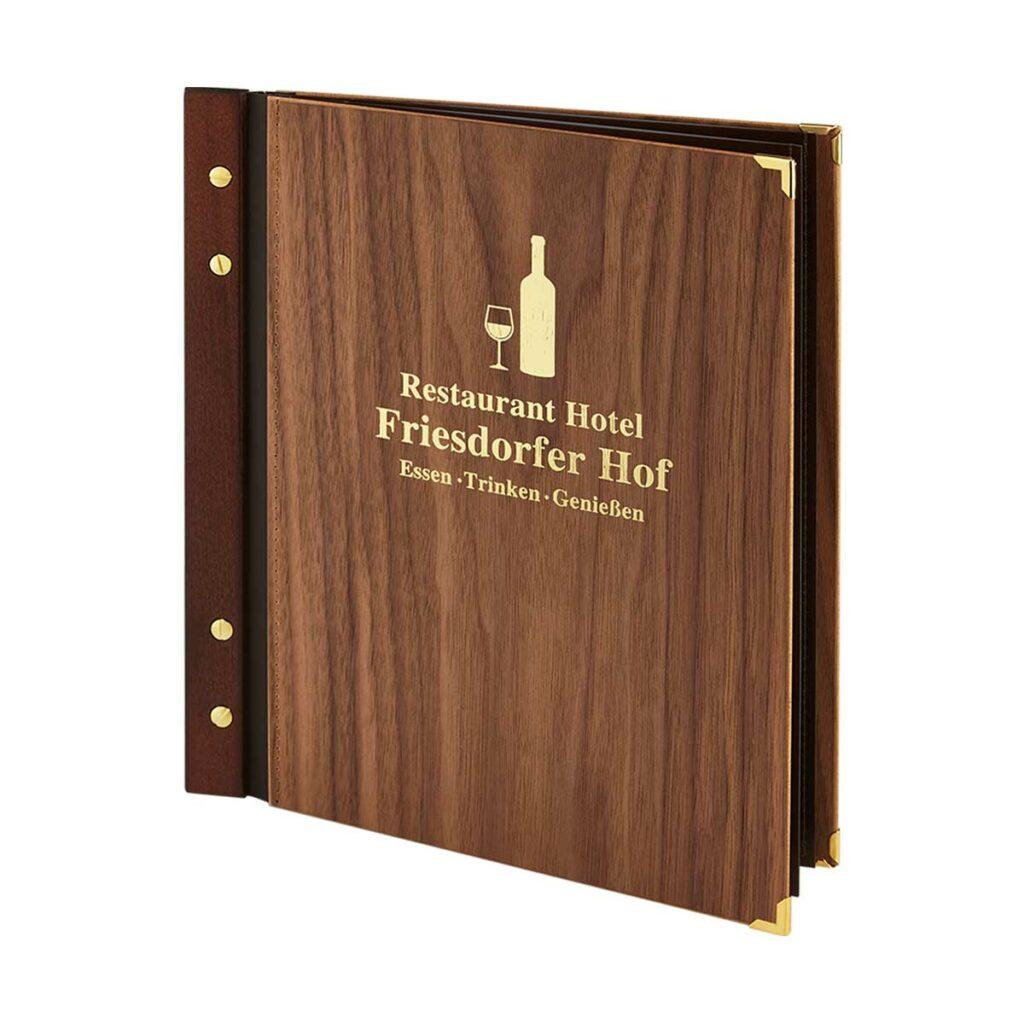 Gastrotopcard Speisekarte Jubilar Woody Woodstock Nussholz