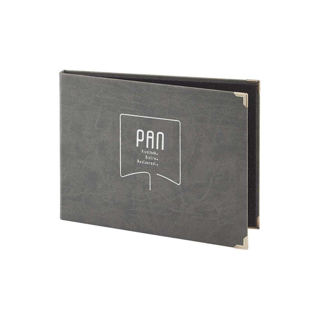 Gastrotopcard Speisekarte Finesso Magnetleiste Weichleder in grau