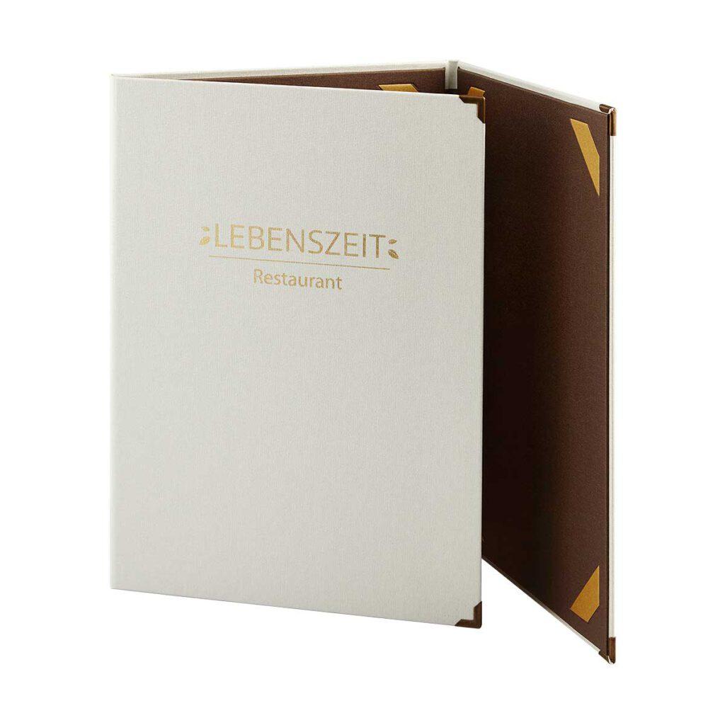 Gastrotopcard Speisekarten Trio Medici in weiß