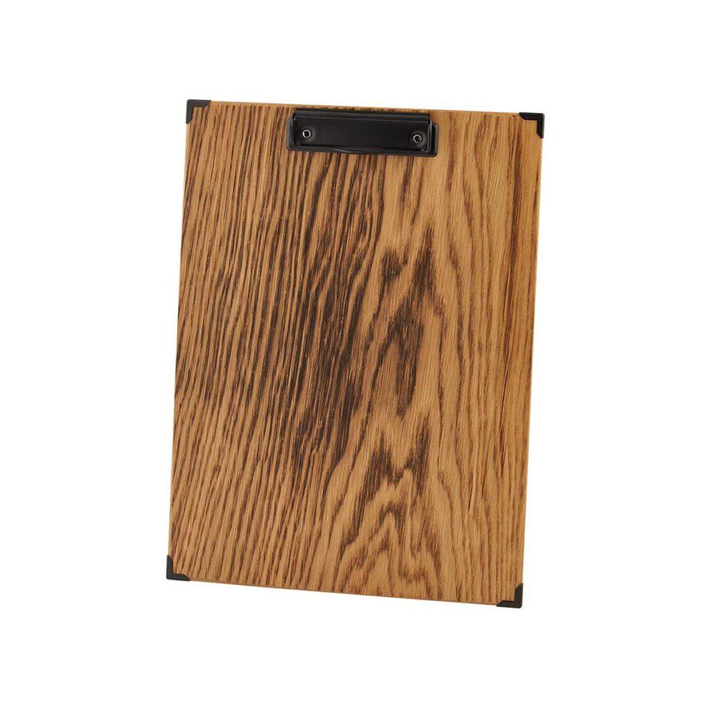 Gastrotopcard Menuboard Holz Woody Eiche geflammt mit Klemme