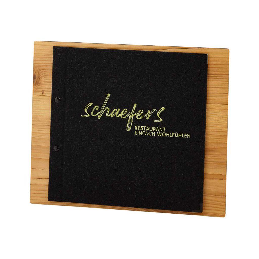 Gastrotopcard Menuboard Selectboard mit Lodencover Woody